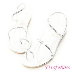 D+AF 獨特美感.簡約麻辮編織套指涼鞋*銀