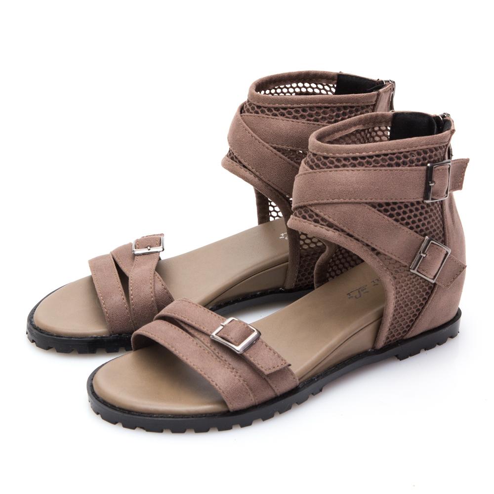 JMS-韓版網紋交叉環裸內增高羅馬涼鞋-棕色