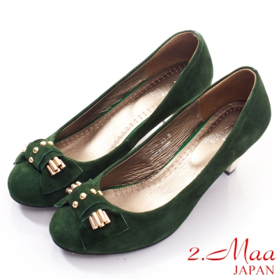 2-Maa-高質感羊麂皮韓版鏡面跟鞋-質感綠