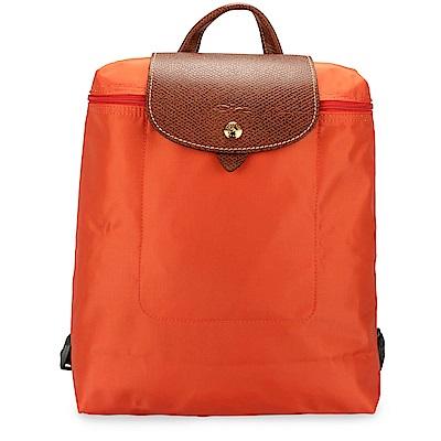 Longchamp Le Piage拉鍊尼龍後背包-橘色