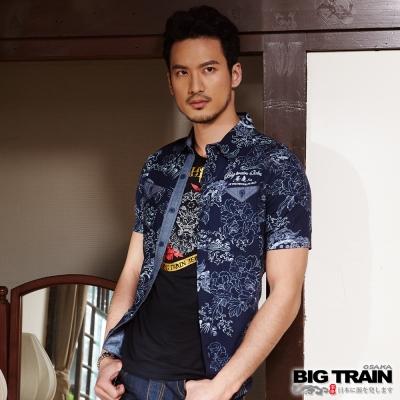 BIG-TRAIN-日式和風短袖襯衫-男-藍底唐獅