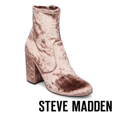 STEVE MADDEN-GAZE 拉鍊粗高跟短筒靴-絨咖啡