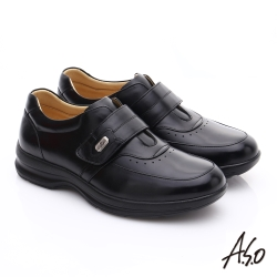 A.S.O 3A全掌氣墊 油感真皮氣墊休閒皮鞋 黑色