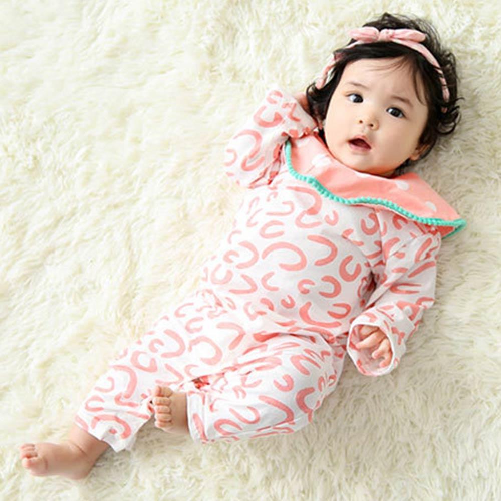 Baby unicorn 粉紅豹紋點點翻領長袖連身衣包屁衣