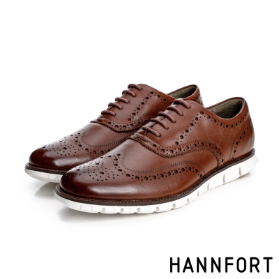 HANNFORT ZERO GRAVITY牛津翼紋雕花真皮氣墊鞋-男-貴氣棕