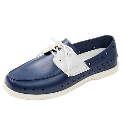 (男/女)Ponic&Co美國加州環保防水洞洞綁帶帆船鞋-海軍藍