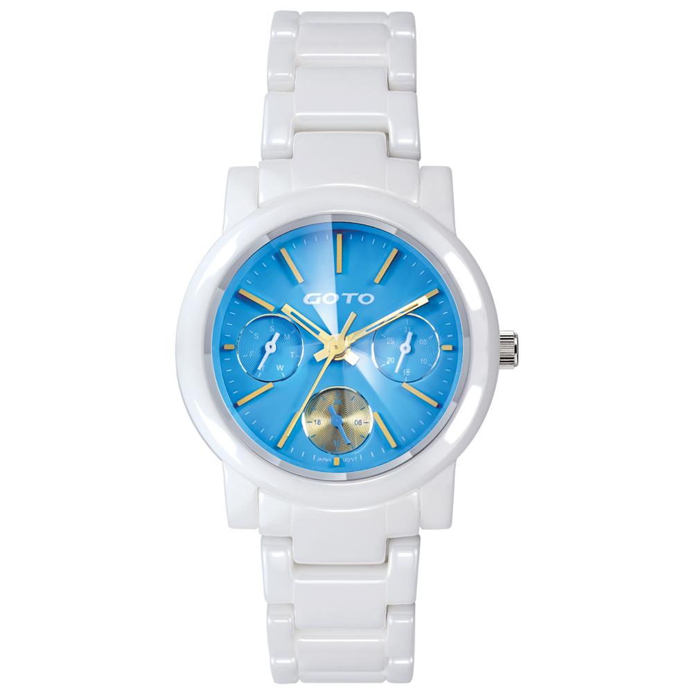 GOTO 亮彩活力三眼陶瓷腕錶-白x藍金/32mm
