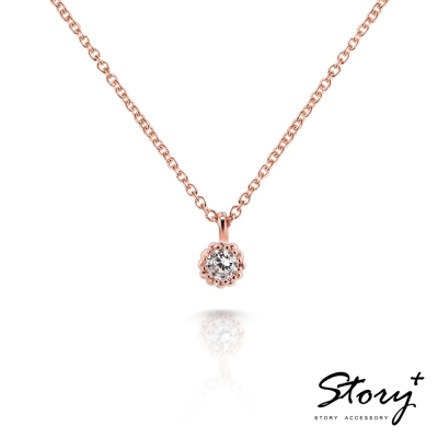 STORY-Star晶鑽系列-TwinkleStar 純銀晶鑽項鍊(玫瑰金)