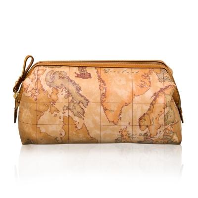 Alviero Martini 義大利地圖包 尼龍拉鍊化妝包(大)-地圖黃