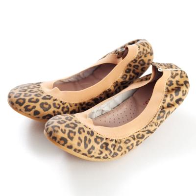 G.Ms.旅行女孩II-羊皮鬆緊口可攜式軟Q娃娃鞋(附鞋袋)-豹紋