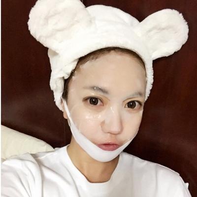 梨花HaNA-韓國網紅直播可愛熊耳朵絨絨洗臉髮帶居
