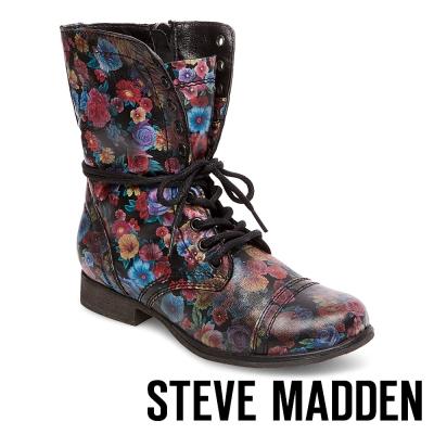 STEVE MADDEN-TROOPA-F 真皮綁帶中筒靴-花卉黑