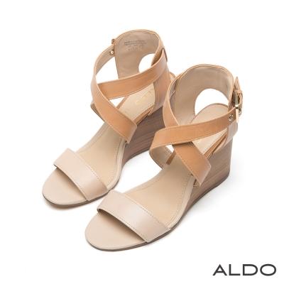 ALDO 原色真皮交叉金屬釦環穿帶涼鞋~氣質焦糖