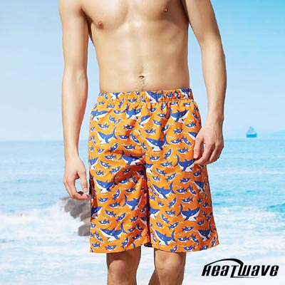 Heatwave熱浪 男海灘泳褲-橘晴藍鯊