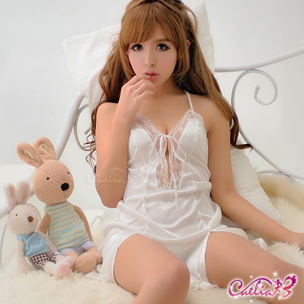 Caelia 甜蜜交往!純情白綁脖柔緞睡衣