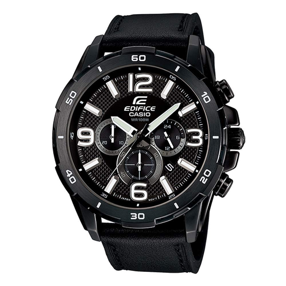EDIFICE簡單三眼設計仿輪胎壓紋賽車計時皮帶錶(EFR-538L-1A)-黑/49mm