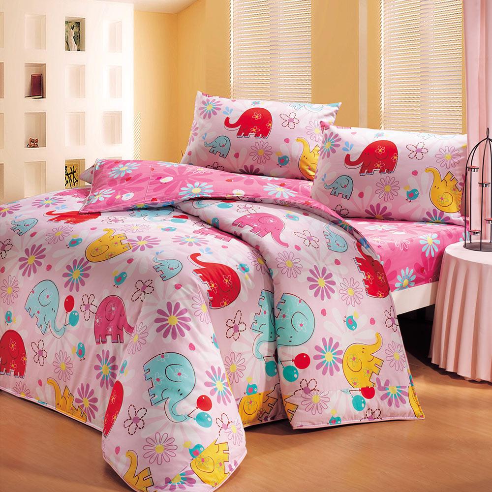 鴻宇HongYew 100%美國棉 防蹣抗菌-心心象印 薄被套床包組 單人三件式