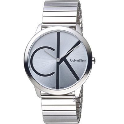 Calvin Klein ck minimal 大 ck 簡約時尚腕錶-銀/40m