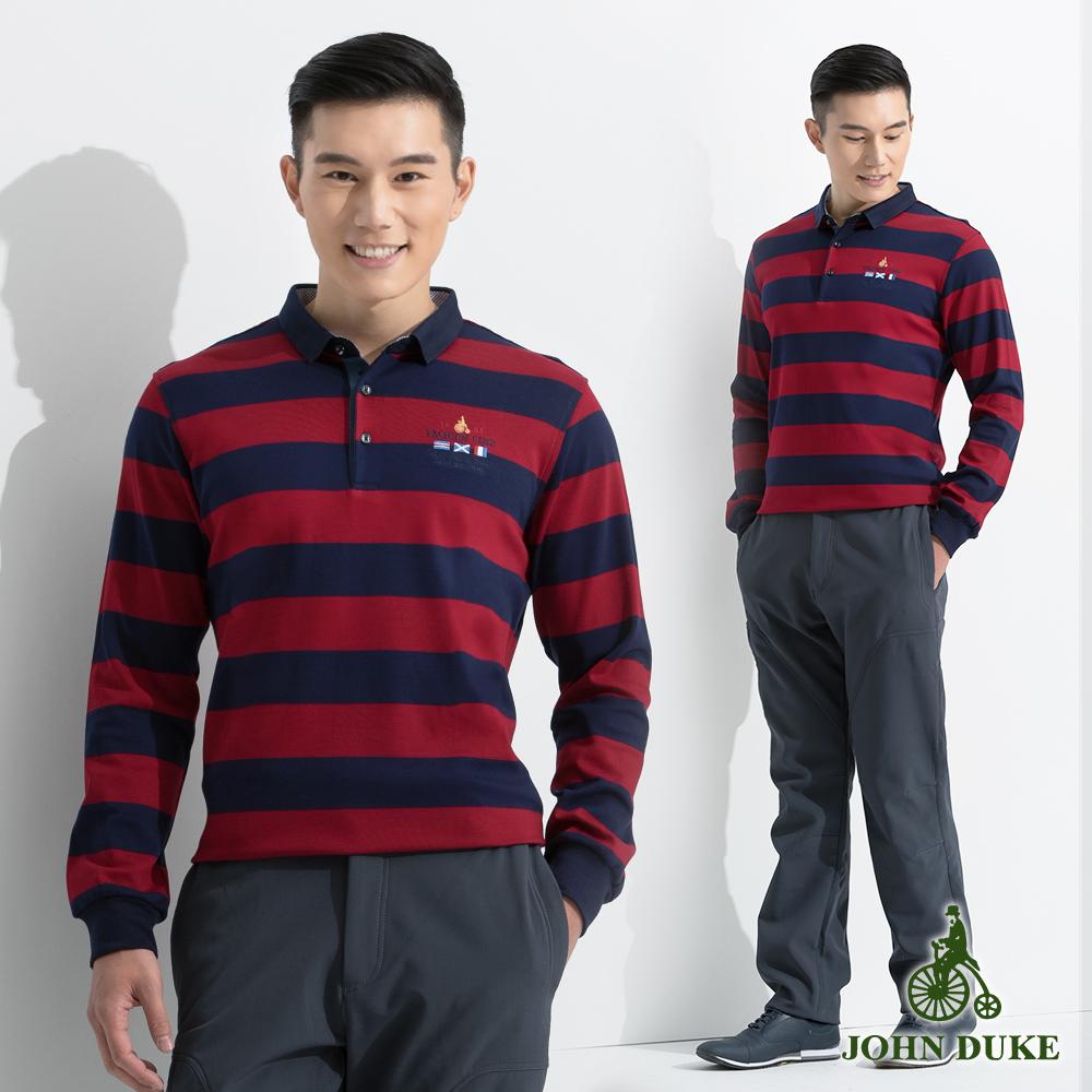 JOHN DUKE 彈性舒適條紋配色POLO衫_藍紅(60-6V2556)