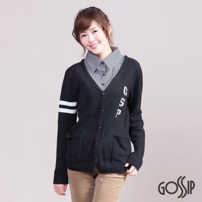 福利品 Gossip 假兩件襯衫針織外套-黑色-女