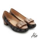 A.S.O 舒適通勤 真皮蝴蝶結飾釦奈米低跟鞋 咖啡色
