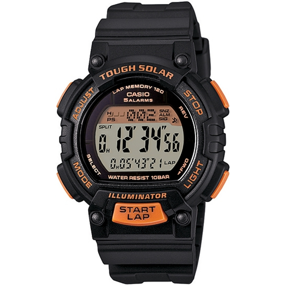 CASIO 輕巧魅力運動風太陽能電子錶-橘x黑(STL-S300H-1B)-36mm