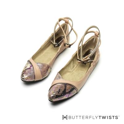 BUTTERFLY TWISTS-踝帶設計記憶軟墊平底鞋-粉膚