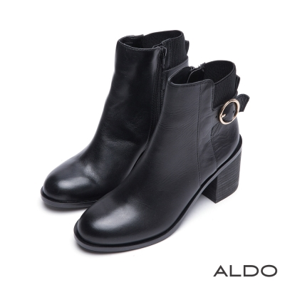 ALDO-復古金屬圓環拼接針織靴筒粗跟靴-尊爵黑色