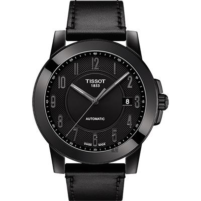 TISSOT天梭 SWISSMATIC 紳士機械錶-黑/44mm