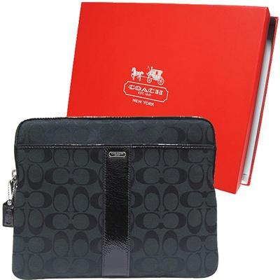 COACH 漆皮飾邊織布多夾層i pad保護套-黑(附原廠禮盒)