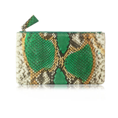 ACUBY 限量單品手工蛇皮長款手拿包/原始綠