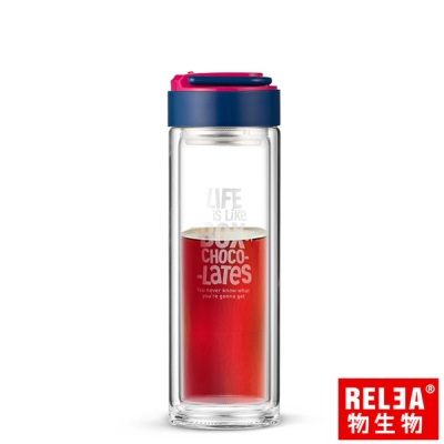 香港RELEA物生物 400ml帶蓋提手耐熱雙層玻璃杯(玫紅)