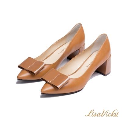 LisaVicky歐式大蝴蝶結粗高跟微尖頭鞋-黃棕色