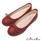 Chichi 舒適首選 素面百搭蝴蝶結娃娃鞋*紅色