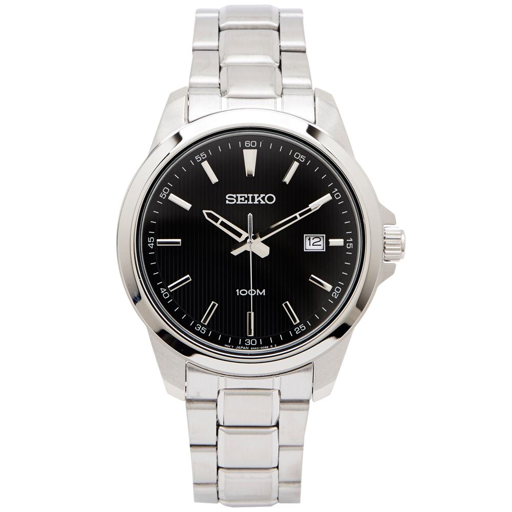 SEIKO 雅致時尚款男性手錶(SUR155P1)-黑面X銀色/42mm