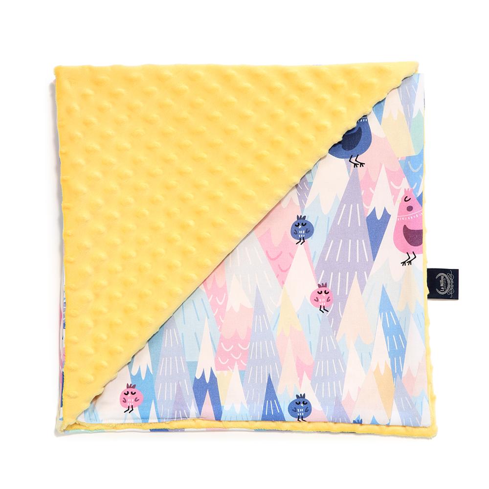 嬰兒毯寶寶毯-La Millou 單面巧柔豆豆毯-莓果咕咕雞(清恬芒果黃)
