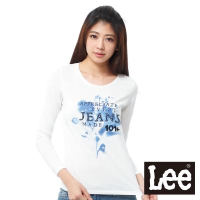 Lee 101+長袖T恤 牛仔布文字拼接 -女款(米白)