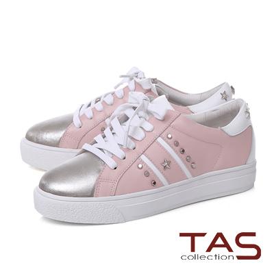 TAS星星鉚釘雙斜線拼接金屬色綁帶休閒鞋-金粉