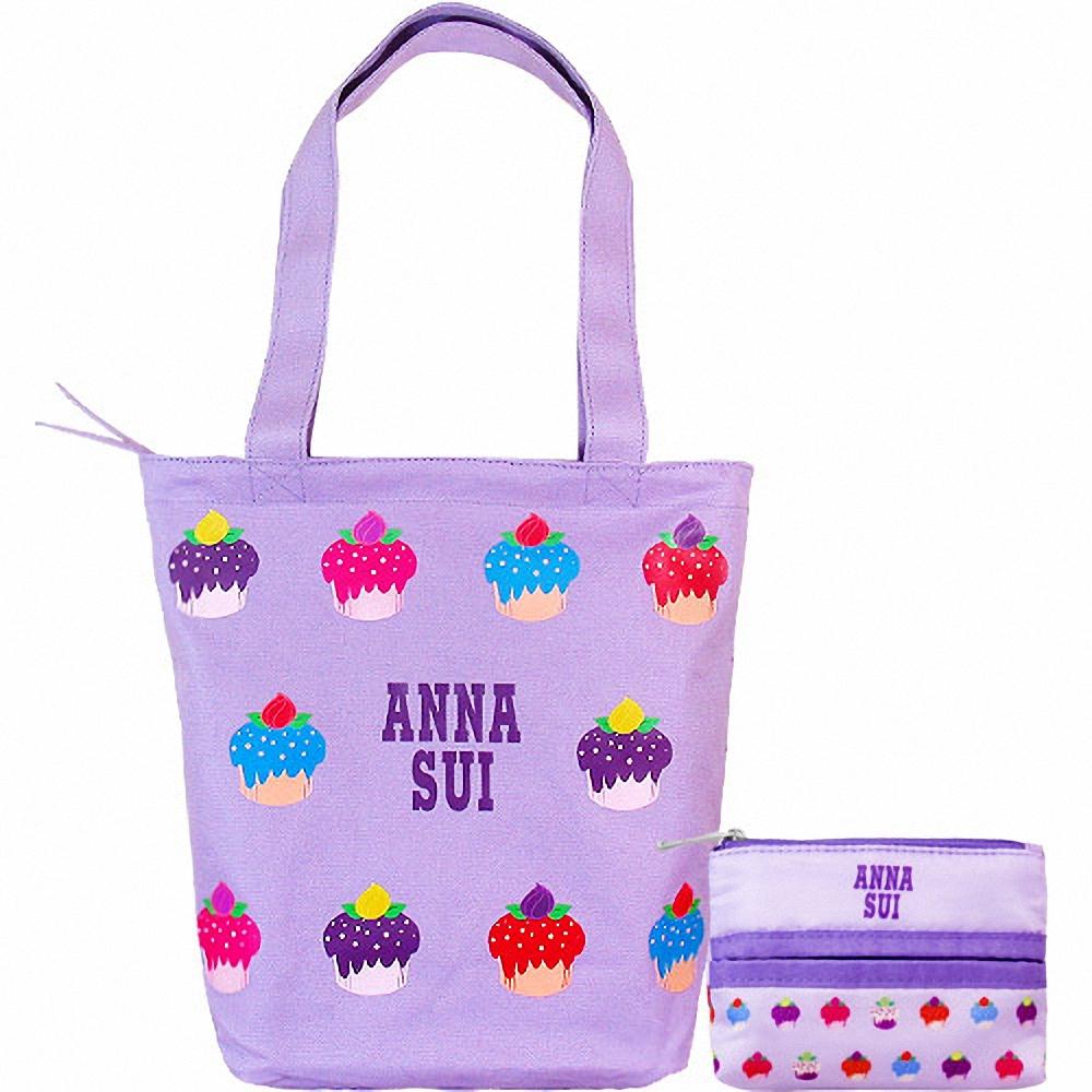 ANNA SUI 安娜蘇 紫戀甜心手提包+面紙零錢包組