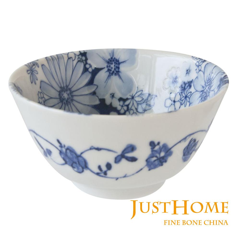 Just Home 日本製羽之菊陶瓷飯碗5件組