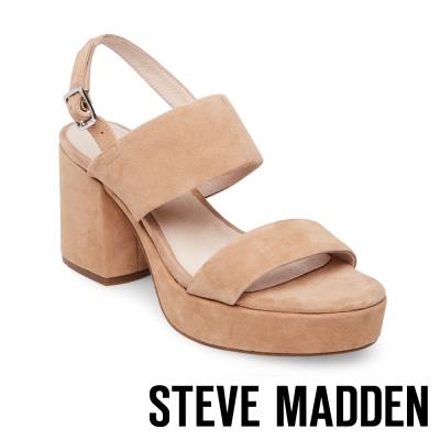 STEVE MADDEN-REBA 麂皮厚底粗跟涼鞋-棕色