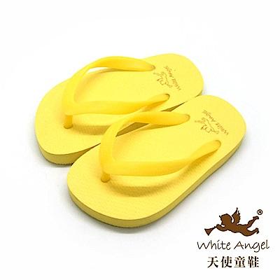 天使童鞋 馬卡龍糖果海灘拖鞋 (中童-超大童)K810-黃