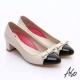 A.S.O 職場女力 鏡面真皮拼接復古粗跟中跟鞋 白 product thumbnail 1
