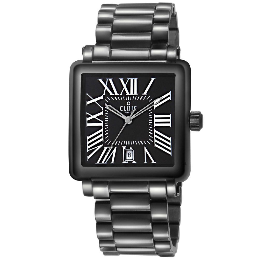 CLOIE 羅馬帝國不鏽鋼時尚腕錶-黑/36mm