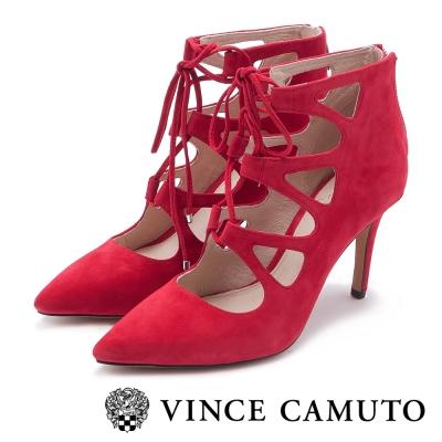 VINCE CAMUTO 性感尤物 麂皮尖頭綁帶高跟鞋-魅惑紅