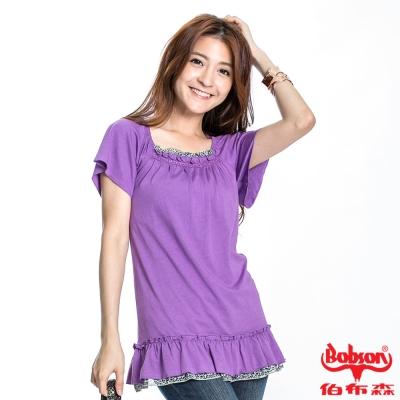 BOBSON 女款抽荷葉短袖長版上衣(紫61)
