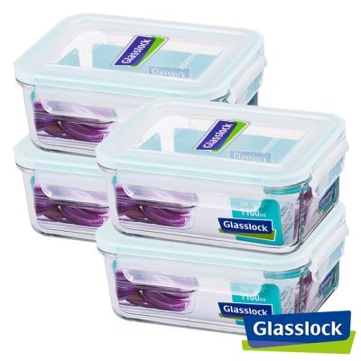 Glasslock強化玻璃微波保鮮盒 - 長方形1100ml四入