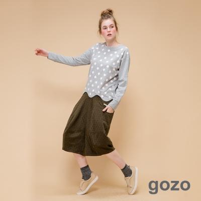 gozo 網路獨家-精彩圈圈波浪下擺造型上衣(經典灰)