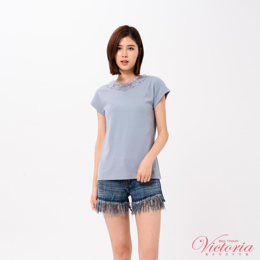 Victoria V領蕾絲剪接落肩短袖T-女-深藍