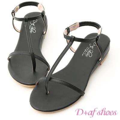 D+AF 純真夏氛.簡約T字線條低跟涼鞋*黑